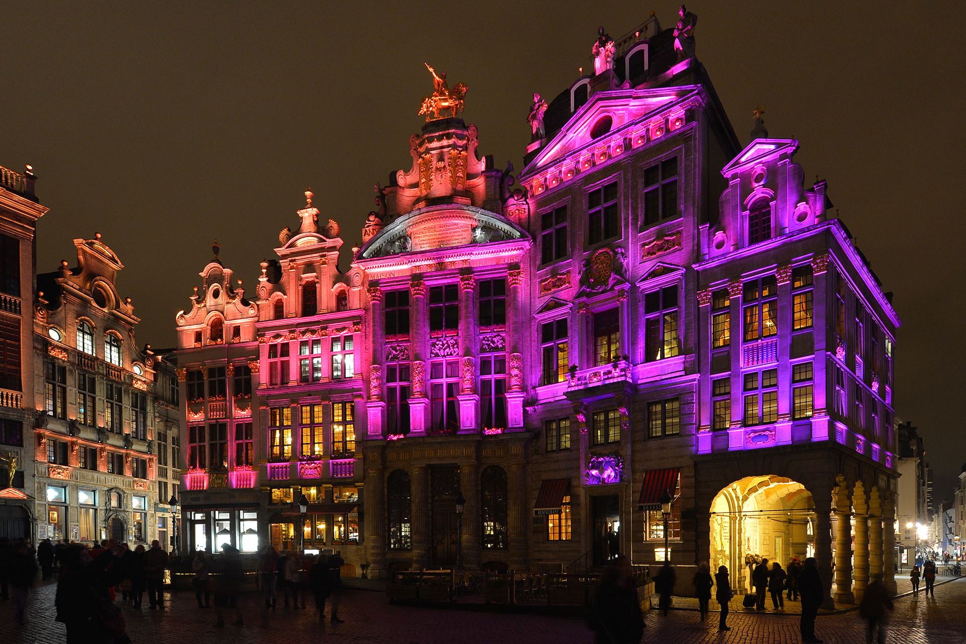 Dynamic lighting scheme places Grand Place at the heart of Brussels, highlighting the city's heritage